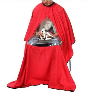 Wholesale Free Shipping Hairdressing Salon Hair Cut Waterproof Barber Cape With Window