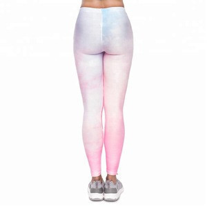 Wholesale pastel marble pattern polyester women fitness spandex leggings