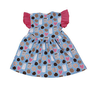 Wholesale toddler girls Biscuits and milk pattern pearl dress
