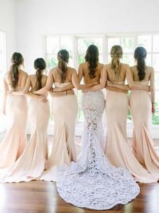 Women Elegant Plus Size Peach Long Bridesmaid Dress