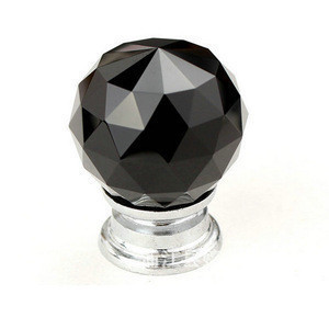 AKK1795 Wholesale fashion modern black faceted ball Crystal Handle Furniture Knobs/ Pull Glass Cabinet Handles