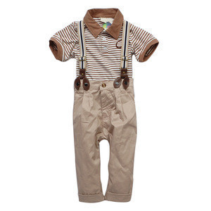 Ecoach Wholesale childrens boutique clothing summer Two Pcs Striped short sleeves Blouse Fashion Boys Suspender Pants boys sets