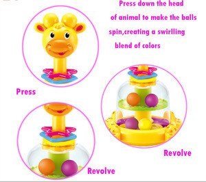 Funny cartoon giraffe spinner baby turntable shantou toys