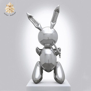 Garden decoration abstract lovely art mirror animal balloon rabbit stainless steel sculpture for sale
