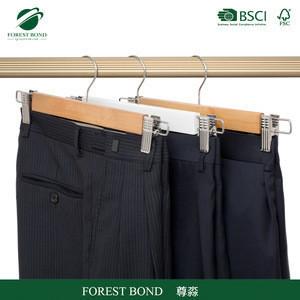 Garment metal clips wooden pants hanger