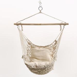 Hanging chair mesh Nordic handmade cotton rope weave swing outdoor square hanging basket