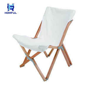 HOMFUL Beech Chair Easy Foldable Outdoor Camping Folding Wood Chair White