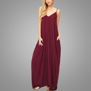 Latest Design Sleeveless Linen Maxi Dress Women Party Dresses V Neck Custom Evening Dress ladies