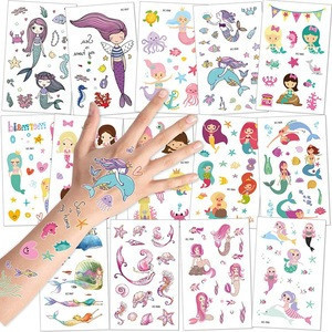 Mermaid Temporary Tattoos Under the Sea Party Mermaid Tattoos Body Stickers for Girls