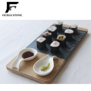 Natural slate sushi tray with bamboo plate ceramic bowls and chopsticks suit 30x14cm