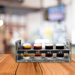 Rustic wood craft beer flight tasting serving set with 4 glasses and chalkboard panel