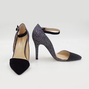 Sexy ankle strap glitter pointed toe cow leather suede high heel women shoes 2018 party wear dress shoes