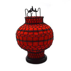 Vintage Cloth Metal Chinese Red Silk Lanterns