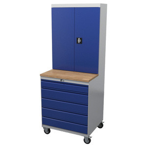 W 750 x D 650/350 x H 930/1930 mm Heavy-Duty Mobile Tool & Parts Trolley 5 Drawers & Lockable Top Cabinet