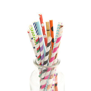 Wedding Supply White Black Red Biodegradable Disposable Eco Long Fancy Paper Dinking Straws Manufacturer