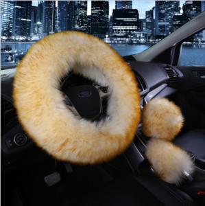 Winter Warm Car Soft cover Long Fur Plush girl  Steering Wheel Cover