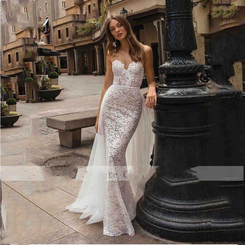 free shipping Lace Mermaid Bridal Dress Appliques Sleeveless Beach Wedding Dresses Vintage Detachable Train Turkey Wedding Gown