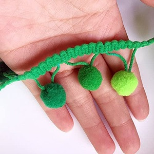 25m wholesale sewing fabric ribbon polyester lace clothing curtain pom pom ball tassel fringe trim