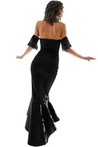 Black Lace Embellished Strapless Mermaid Dress Wedding Party Evening Long Dress Bridal Gown Wedding Dress