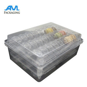 Custom macaron chocolate package box PET PVC blister container packaging plastic tray
