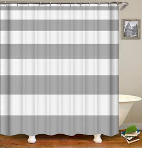 Eco friendly geometric pattern digital print striped bath screen shower bath curtain set