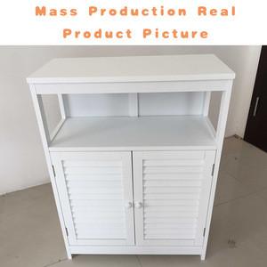 Floor Free Standing White Wood Bathroom Storage Cabinet With Adjustable Shelf