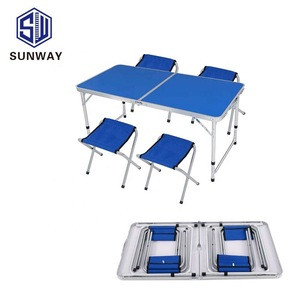 Foldable outdoor pavilion promotion exhibition table and chair combination portable aluminum alloy simple picnic table