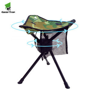 Geertop  small portable lightweight steel 360 degree rotation folding camping beach outdoor stool fishing chair