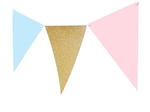 Gender Reveal Banner Triangle Flag Bunting Banner for Gender Reveal Wedding Baby Shower Birthday Party Supplies