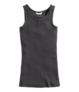 Girls black stringer tank top custom
