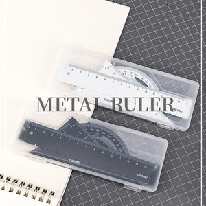High quality deli 79510 tripod protractor ruler set mathematics drawing metal ruler set