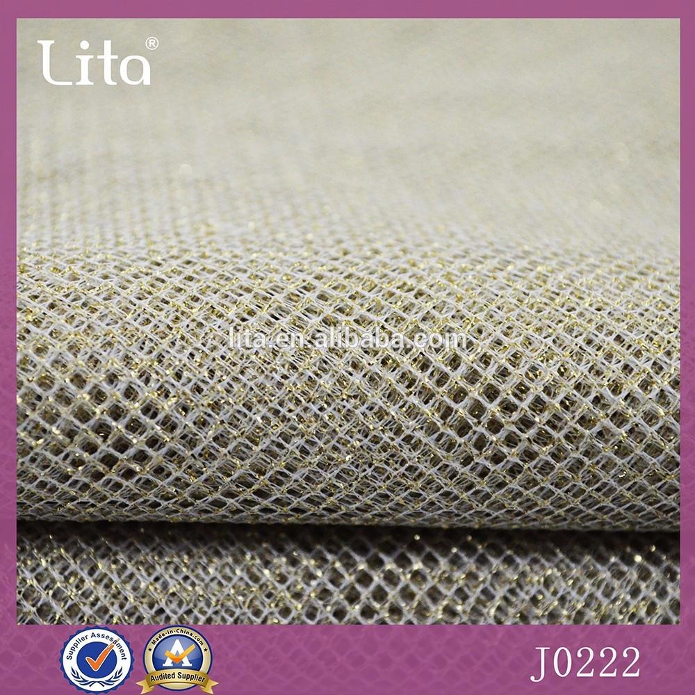 Lita J0222# 100%polyester golden shinning mesh fabric good quality  net fabric