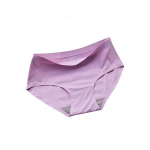 Mid-rise 10 colors seamlees silk women underwear hot sale 2018