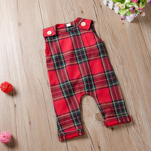 New Arrivals Newborn Infant Baby Sleeveless Vest Playsuit Wear Christmas Red Plaid Pattern Girls Rompers