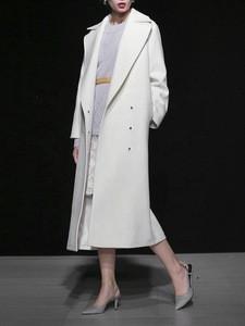 OEM Guangzhou Custom White Winter Woolen Coat Belt Long Sheep Coat Women