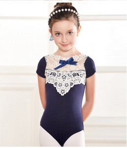 Wholesale yawoo lace ballet stage and dance wear baby girls cute solid color leotard dancewear