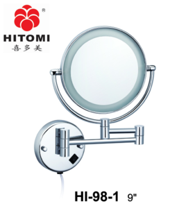 9 Inch Wall Mounted Shaving Mirror With Led Light 3X  Round Magnify Makeup Mirror Bath Mirror