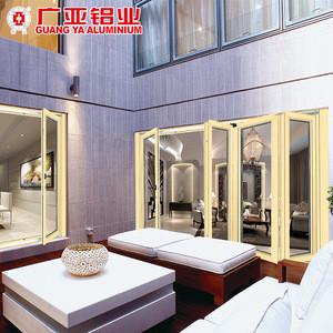Accordion folding glass garden door , heavy folding glass door with hidden hinge