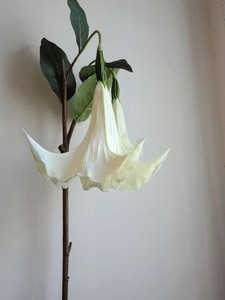 Artificial flowers pure white angel's trumpet in pu material