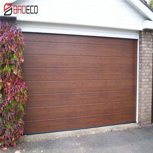 Automatic wooden look skin sectional steel garage door