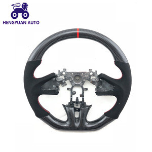 Car Modified Carbon Fiber Steering Wheel With Red Stitching