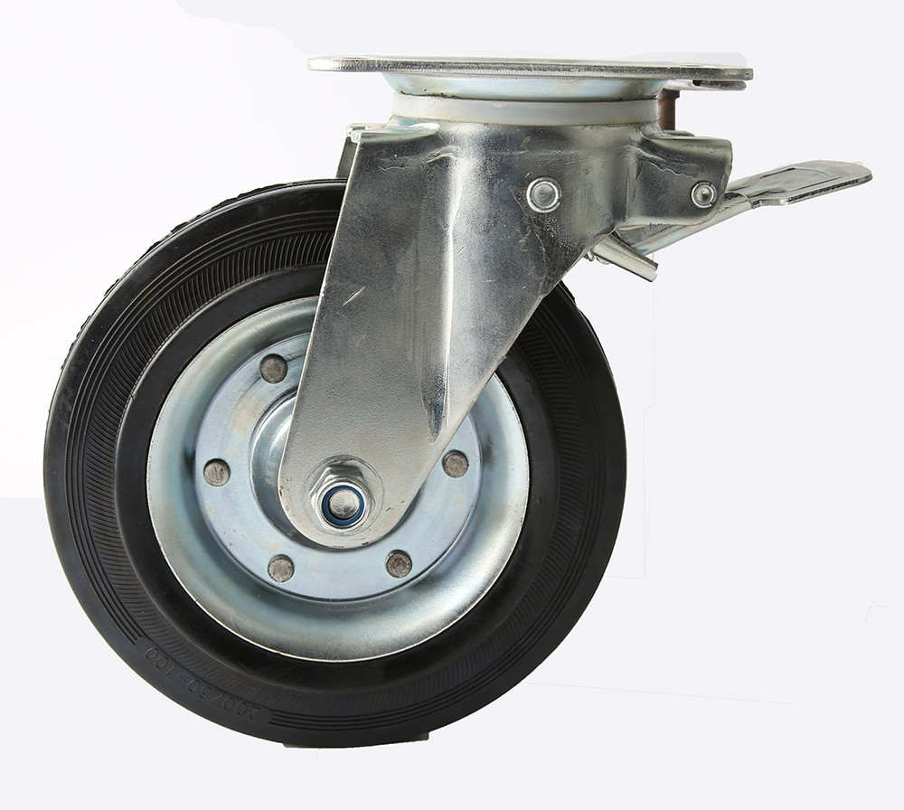 Factory price  8 inch rubber  caster wheel with brake  for 660 L Garbage bin