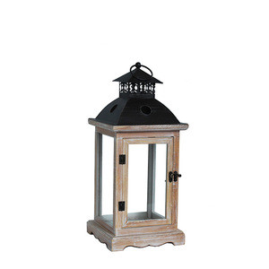 Good Quantity big garden wooden wood antique candle holders lamp lanterns
