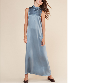 Hotsale new fashion customized latest women traditional chinese shiny satin pencil dress