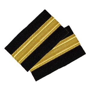 New 2 Bar Silver Airline Pilot Epaulettes Engineer Shoulder Boards Rank Insignia