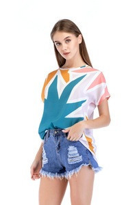 New arrival fashion ladies tops summer flowers and leaf print short sleeve top