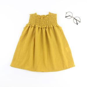New Model Daily Summer Mustard Ruffle 100%Linen Icing Ruffle Hem Sleeveless Dresses