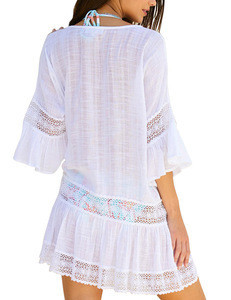 New Summer beach Lace Embroidered Flare Dress