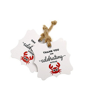 Personalized embossing logo white paper garment hang tag
