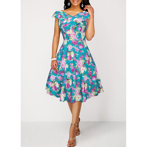 Spring and Autumn 2009 New Style Women's Dresses with Broken Flowers and Ancient Printed Sleeveless Dresses